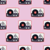 Speler voor de vinyl van de het patroon correcte audio uitstekende grammofoon van de verslagmuziek vlakke naadloze vectorillustra Royalty-vrije Stock Foto