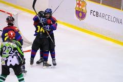 Spelers in actie in Ijshockeydef. van Copa del Rey Stock Foto's