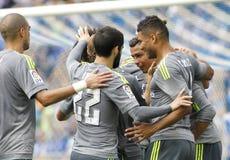 Spelers die van Real Madrid doel vieren stock afbeeldingen