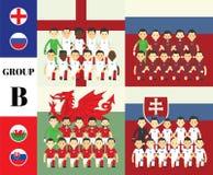 Spelers met vlaggen Stock Foto's