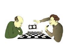 Spelers in schaak Royalty-vrije Stock Afbeeldingen