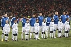 Spelers van Porto met kinderen Stock Afbeeldingen