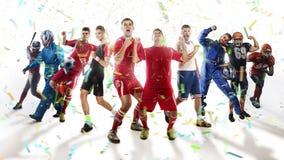 Spelers van verschillende die sporten op wit worden geïsoleerd Stock Foto