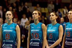 Spelers van volleybal teamDynamo (doctorandus in de exacte wetenschappen) Stock Foto's
