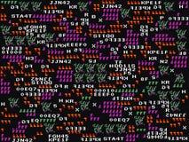 Spelglitch achtergrond Abstracte symbolen en vormen op donkere achtergrond Modern ontwerp Gokkenbehang Oude schoolpret Royalty-vrije Stock Foto