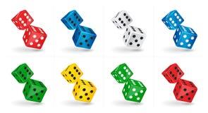 Spelillustratie Dobbelt het zes opgeruimde casino geïsoleerd op witte achtergrond Gokkend malplaatje Stock Afbeeldingen
