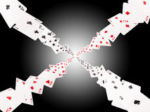 Spelkaarten het vliegen Isoleer op wit-zwarte achtergrond vector illustratie