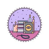 Spell books and candles. Vector illustration. Icon Royalty Free Stock Images