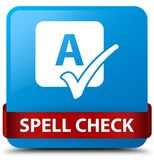Spell check cyan blue square button red ribbon in middle. Spell check isolated on cyan blue square button with red ribbon in middle abstract illustration Stock Photo