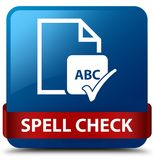 Spell check document blue square button red ribbon in middle. Spell check document isolated on blue square button with red ribbon in middle abstract illustration Stock Photo