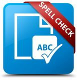 Spell check document cyan blue square button red ribbon in corne Royalty Free Stock Photo