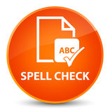 Spell check document elegant orange round button Royalty Free Stock Photo