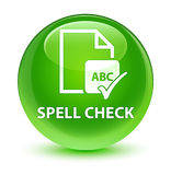 Spell check document glassy green round button Royalty Free Stock Image