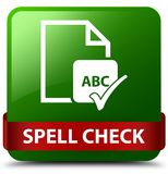 Spell check document green square button red ribbon in middle. Spell check document  on green square button with red ribbon in middle abstract illustration Royalty Free Stock Photography