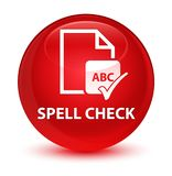Spell check document glassy red round button. Spell check document isolated on glassy red round button abstract illustration Royalty Free Stock Photos