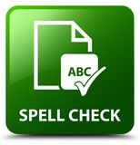 Spell check document green square button Royalty Free Stock Photo