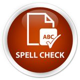 Spell check document premium brown round button. Spell check document isolated on premium brown round button abstract illustration Stock Image