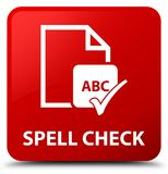 Spell check document red square button Stock Photo
