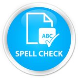 Spell check document premium cyan blue round button Royalty Free Stock Images
