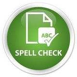 Spell check document premium soft green round button Royalty Free Stock Photo