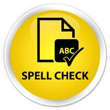 Spell check document premium yellow round button. Spell check document isolated on premium yellow round button abstract illustration Stock Photo