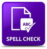 Spell check document purple square button Royalty Free Stock Photo