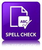 Spell check document purple square button. Spell check document isolated on purple square button reflected abstract illustration Royalty Free Stock Image