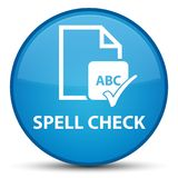 Spell check document special cyan blue round button Stock Image