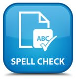 Spell check document special cyan blue square button. Spell check document isolated on special cyan blue square button abstract illustration Stock Image