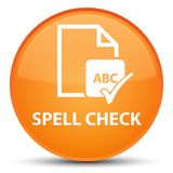 Spell check document special orange round button. Spell check document isolated on special orange round button abstract illustration Stock Images