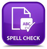 Spell check document special purple square button. Spell check document isolated on special purple square button abstract illustration Stock Photography