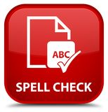 Spell check document special red square button. Spell check document isolated on special red square button abstract illustration Royalty Free Stock Image