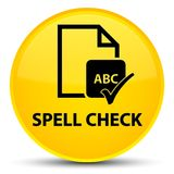 Spell check document special yellow round button. Spell check document isolated on special yellow round button abstract illustration Stock Images