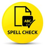 Spell check document yellow round button. Spell check document  on yellow round button abstract illustration Stock Images