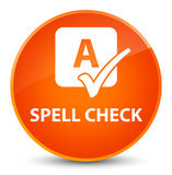 Spell check elegant orange round button Stock Photos
