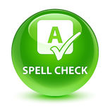 Spell check glassy green round button Stock Image
