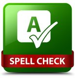 Spell check green square button red ribbon in middle. Spell check  on green square button with red ribbon in middle abstract illustration Royalty Free Stock Image