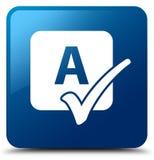 Spell check icon blue square button Stock Photo