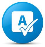 Spell check icon cyan blue round button Royalty Free Stock Photos