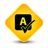 Spell check icon elegant yellow diamond button Stock Photography