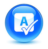 Spell check icon glassy cyan blue round button Stock Photo