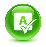 Spell check icon glassy green round button Royalty Free Stock Image