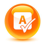 Spell check icon glassy orange round button Royalty Free Stock Photography