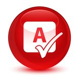 Spell check icon glassy red round button Royalty Free Stock Photos