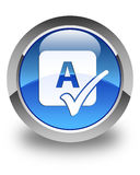 Spell check icon glossy blue round button Stock Photo