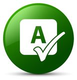 Spell check icon green round button Royalty Free Stock Photo