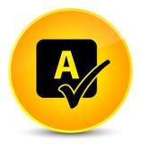 Spell check icon elegant yellow round button. Spell check icon isolated on elegant yellow round button abstract illustration Stock Photos