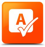 Spell check icon orange square button Stock Image