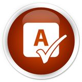 Spell check icon premium brown round button Royalty Free Stock Image