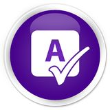 Spell check icon premium purple round button Stock Images
